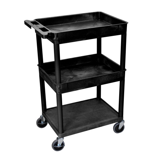 Luxor 3 Shelf Black Tub Cart