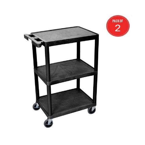 Luxor Stc222-B 3 Flat Shelf Multipurpose Utility Cart - Black (Pack Of 2)