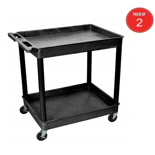 "Luxor Tc11-B 2 Large Tub Shelves Rolling Utility Cart 32"" W X 24"" D X 37.5"" H - Black (Pack Of 2)"