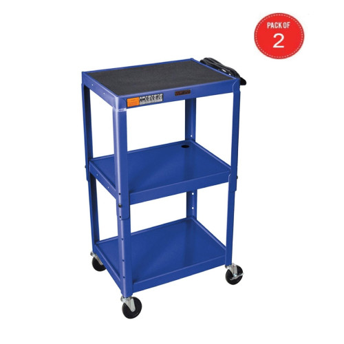 H Wilson W42Abue Metal Utility Cart-Height Adjustable, Blue (Pack Of 2)