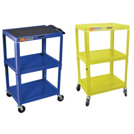 H Wilson Metal Utility Cart-Height Adjustable, Blue And Yellow