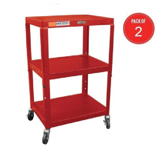 H Wilson W42Are Height Adjustable Metal Utility Cart, Red (Pack Of 2)
