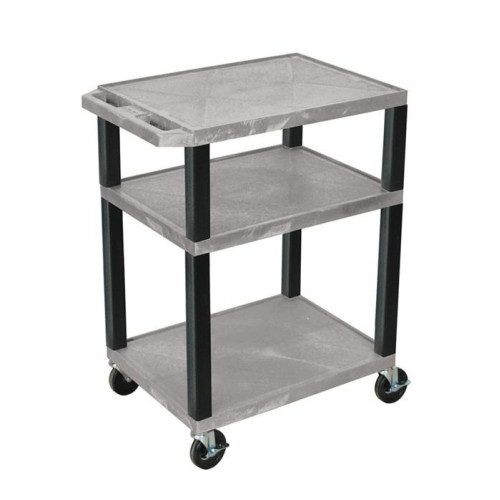 H. Wilson Tuffy Gray 3 Shelf Av Cart