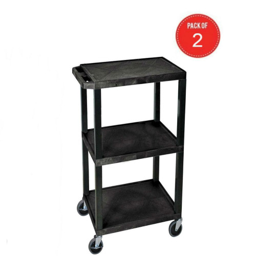 Luxor Wt34S 3 Shelves Tuffy Utility Cart - Black (Pack Of 2)
