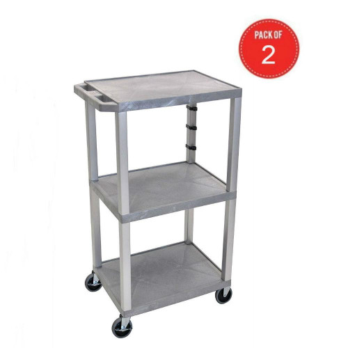 """H Wilson Wt42Gye-N Tuffy 3 Tier Cart With Shelves, 42.5"""" H X 24"""" W X 18"""" D, Gray And Nickel (Pack Of 2)"""