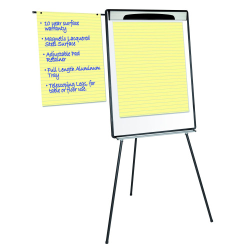 """Magnetic Steel Dry-Erase Tripod Presentation Easel With Extension Arms, Black And Silver Aluminum Frame, 29.5"""" X 42"""""""