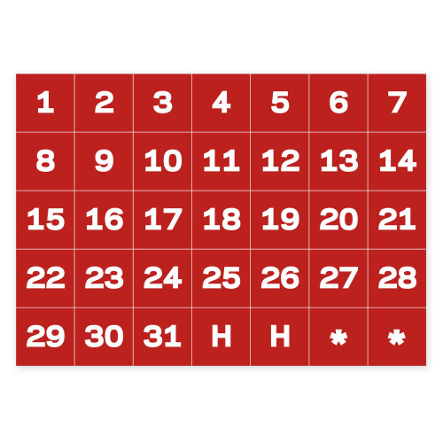 Calendar Dates Accessory Magnets, White On Red