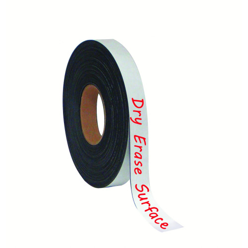 """Dry-Erase Magnetic Tape Rolls, Write-On Wipe-Off, White, 1"""" X 50 Ft."""