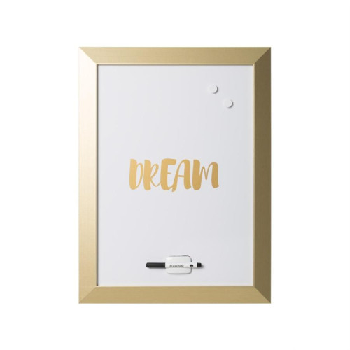 "Magnetic Dry-Erase Quote Board, ""Dream"" Quote, Gold Metallic Frame, 18"" X 24"","