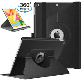Apple Ipad 7Th Generation 2019 10.2 Inch / A2200 / A2198 / A2197 Tablet Pu Leather Folio 360 Degree Rotating Stand Case Cover Black