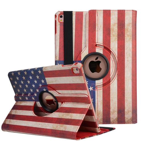 Apple Ipad Air 1St / A1474 / A1475 Tablet Pu Leather Folio 360 Degree Rotating Stand Case Cover American Flag