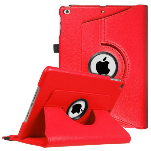 Apple Ipad Air 1St / A1474 / A1475 Tablet Pu Leather Folio 360 Degree Rotating Stand Case Cover Red