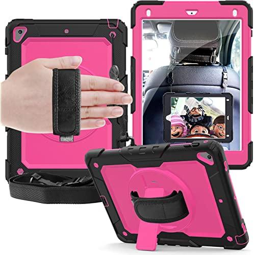 Apple Ipad 6Th Generation 2018 / A1893 / A1954 Shockproof Protective 360 Rotating Stand W. Strap Case Cover