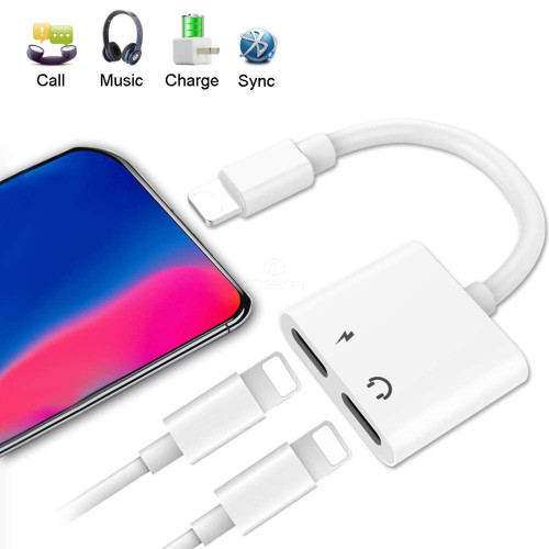 Apple Iphone / Ipad 2In1 Dual Lightning Auxiliary Adapter Splitter Earphone Audio Charge Cable White