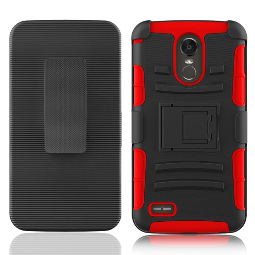 Lg Stylo 3 / Stylus 3 / Stylo 3 Plus / Ls777 protect Belt Clip Holster Case Cover Red