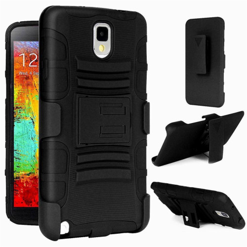 Samsung Galaxy Note 3 protect Belt Clip Holster Case Cover Black