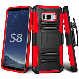 Samsung Galaxy S8 protect Belt Clip Holster Case Cover Red