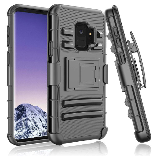 Samsung Galaxy S9 protect Belt Clip Holster Case Cover Black