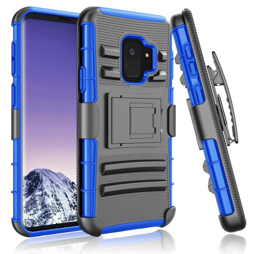 Samsung Galaxy S9 protect Belt Clip Holster Case Cover Blue