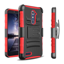 Zte Max Xl / N9560 protect Belt Clip Holster Case Cover Red