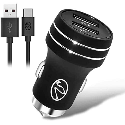 2.4A 2In1 Universal Dual Usb Port Travel Car Charger With Type-C Usb Cable Black