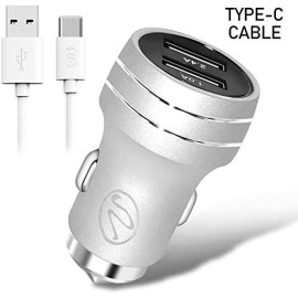 2.4A 2In1 Universal Dual Usb Port Travel Car Charger With Type-C Usb Cable -Silver
