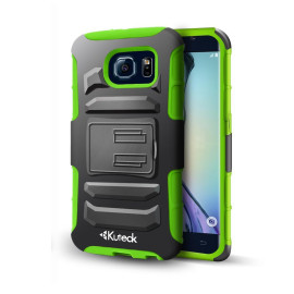 Samsung Galaxy S6 Hybrid Box Case Cover Belt Clip With Card Holder Green