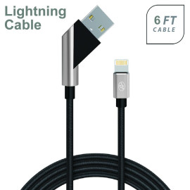 Apple Iphone 5/5S/Se 6/6S 7/8 7Plus/8Plus X/10 Fast Charge 6Ft 2.4Amp Angled Fabric Lightning Usb Cable Black