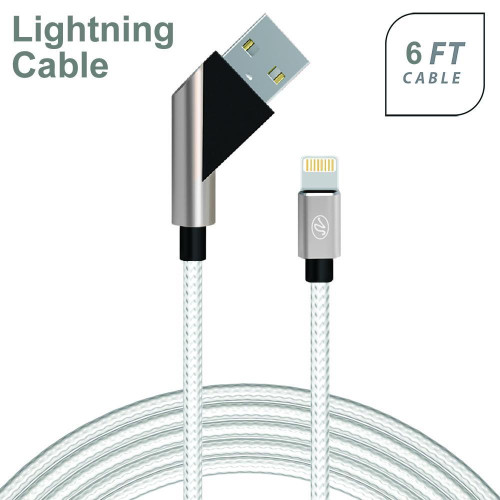 Apple Iphone 5/5S/Se 6/6S 7/8 7Plus/8Plus X/10 Fast Charge 6Ft 2.4Amp Angled Fabric Lightning Usb Cable White