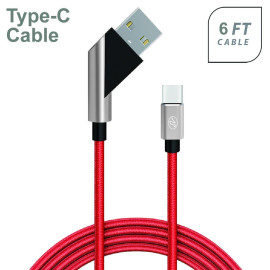 Universal Fast Charge 6Ft 2.4Amp Angled Fabric Type-C Usb Cable Red