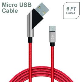 Universal Fast Charge 6Ft 2.4Amp Angled Fabric Micro Usb Cable Red