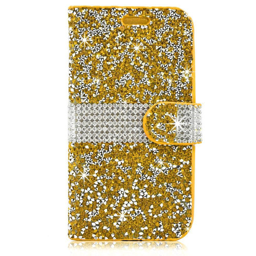 Samsung Galaxy Note 7 / N930 Diamond Leather Wallet Case Cover Gold