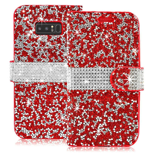 Samsung Galaxy Note 8 Diamond Leather Wallet Case Cover Red