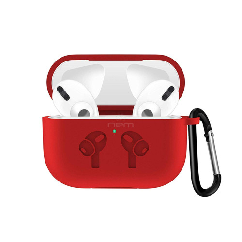 Apple Airpods Pro Silicone Earpod Charging Protective With Carabiner Case Cover Red