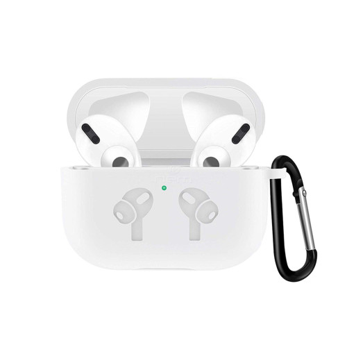 Apple Airpods Pro Silicone Earpod Charging Protective With Carabiner Case Cover White