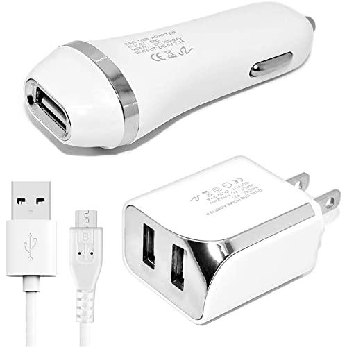 Universal 3 In 1 Usb Car Charger 2 Usb Ports Wall Charger Adapter With 5 Ft Micro Usb Cable White
