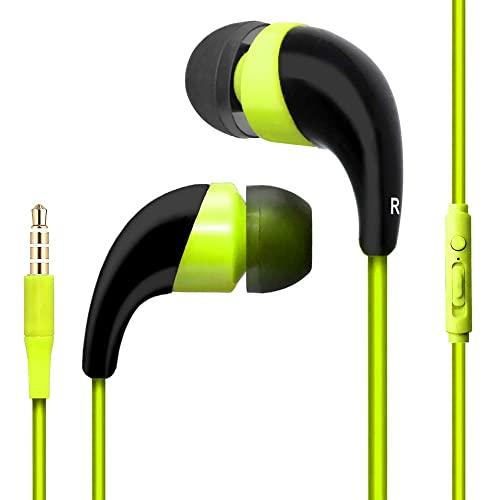 Universal Handsfree Stereo Earphone With Microphone Playback Control Green