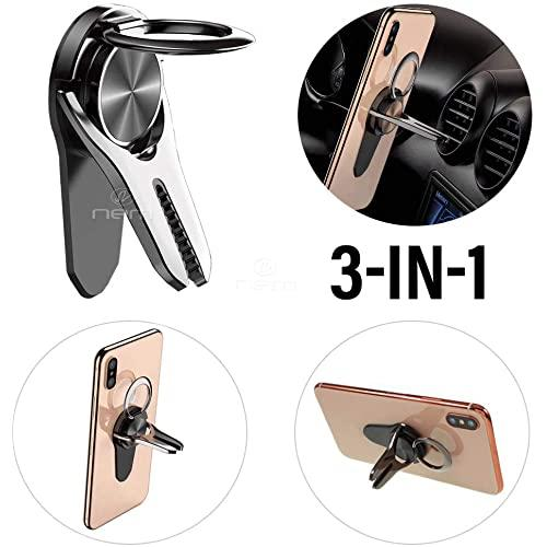 3-In-1 Universal Car Mount Magnetic Car Air Vent Mount Clip Mobile Cell Phone Finger Stand Holder