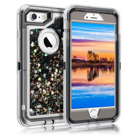 Apple Iphone 8 / Iphone 7 Tough Defender Sparkling Liquid Glitter Heart Case With Transparent Holster Clip Black