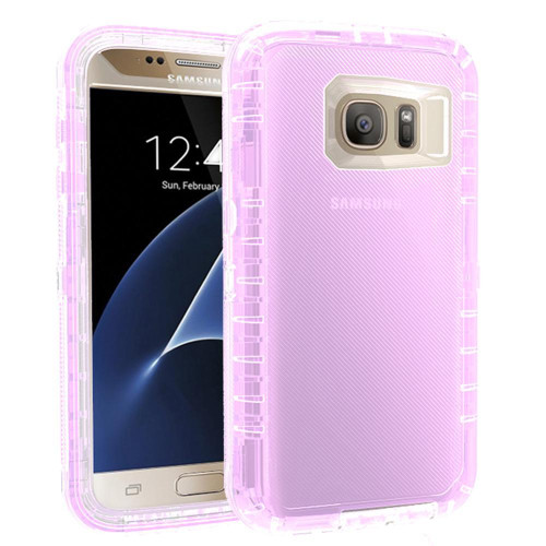 Samsung Galaxy S7 Transparent Defender protect With Clip Hybrid Case Cover Purple