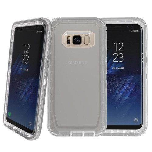 Samsung Galaxy S8 / G950 Transparent Defender protect With Clip Hybrid Case Cover Gray