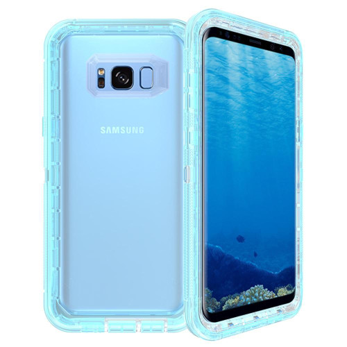 Samsung Galaxy S8 Plus / G955 Transparent Defender protect With Clip Hybrid Case Cover Blue