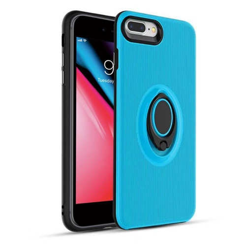Apple Iphone 7 Plus / Iphone 8 Plus Shockproof Hybrid 360 Rotatable Ring Stand Magnetic Car Mount Feature Case Cover Blue