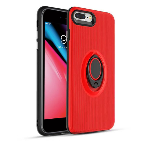 Apple Iphone 7 Plus / Iphone 8 Plus Shockproof Hybrid 360 Rotatable Ring Stand Magnetic Car Mount Feature Case Cover Red