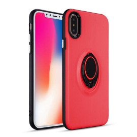 Apple Iphone X / 10 Shockproof Hybrid 360 Rotatable Ring Stand Magnetic Car Mount Feature Case Cover Red