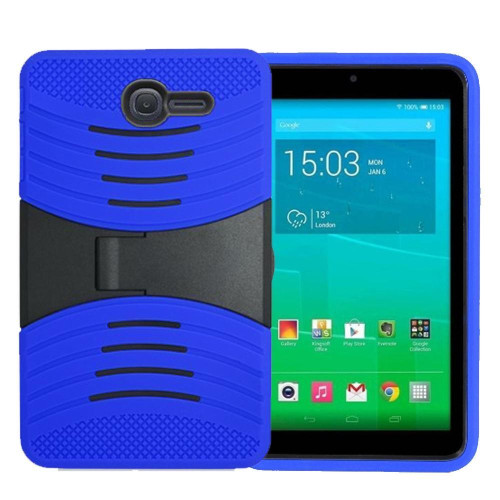 Alcatel Onetouch Pixi 7 Hybrid Silicone Case Cover Stand Blue