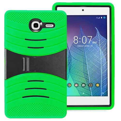 Alcatel One Touch Pop 7 Lte / 9015W Hybrid Silicone Case Cover Stand Green