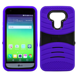 Lg G5 Hybrid Silicone Case Cover Stand Purple
