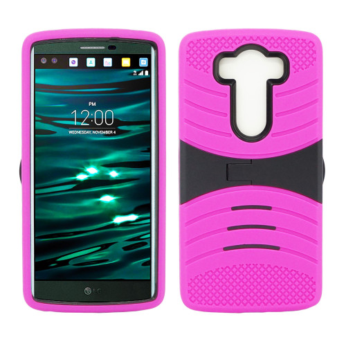 Lg V10 Hybrid Silicone Case Cover Stand Pink