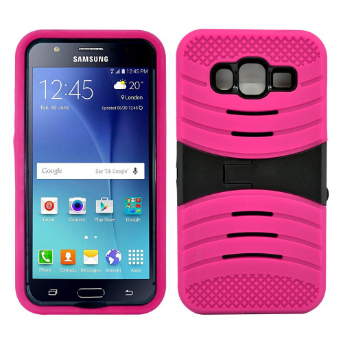 Samsung Galaxy J3 Hybrid Silicone Case Cover Stand Pink